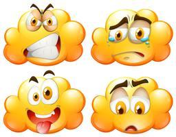 Nuages moelleux jaunes avec des expressions faciales vecteur