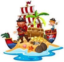 Pirate et bateau à l'île au trésor vecteur