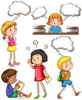 Enfants avec des pensées vides vecteur