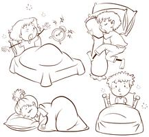 Enfants dormant et se réveillant vecteur