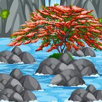 Scène avec arbre et rivière vecteur