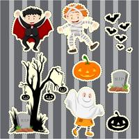 Ensemble d'autocollants pour enfants en costumes d'halloween