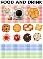 Différents types de nourriture et de boissons vecteur