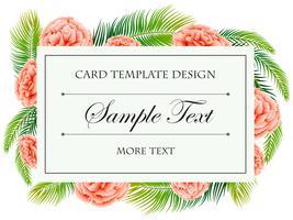 Modèle de carte avec des fleurs d'oeillets roses
