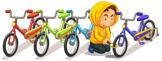 Homme volant un vélo sur le parking vecteur