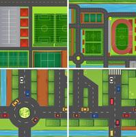 Scène avec routes et terrains de sport vecteur