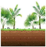 Fond transparent avec des palmiers et une scène underground vecteur