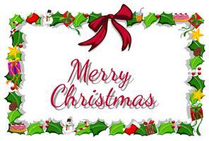 Modèle de carte de Noël avec guis et cadeaux