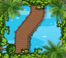 Vue de dessus de l'étang avec pont