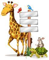 Girafe et autres animaux par le signe