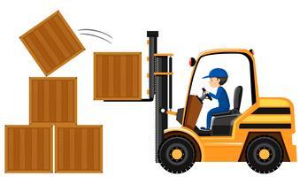 Homme soulevant des boîtes en bois avec chariot élévateur vecteur