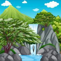 Scène de la nature avec une cascade dans les montagnes vecteur