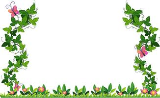 Bordure design avec vigne et papillons vecteur