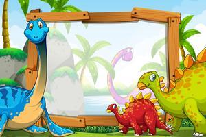 Dinosaures autour du cadre en bois vecteur