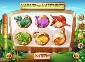 Modèle de jeu avec des personnages de dinosaures vecteur