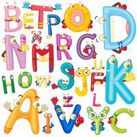 Alphabet anglais avec des visages vecteur