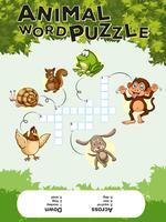 Modèle de jeu pour puzzle de mot animal vecteur