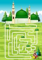 Jeu de labyrinthe avec des gens et une mosquée