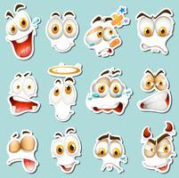 Différentes expressions du visage sur fond bleu vecteur