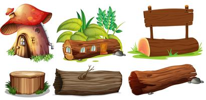 Différentes utilisations du bois vecteur