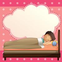Un garçon dort avec un modèle de légende vide