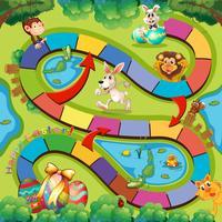 Modèle de jeu avec des animaux sauvages et des oeufs de Pâques