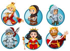 Différents personnages de contes de fées sur un badge rond vecteur