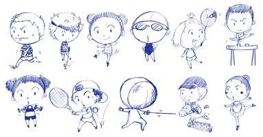Blue doodle design des personnes jouant avec les différents sports vecteur
