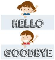 Filles dire bonjour et au revoir