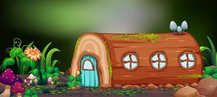 Maison en rondins dans la nature vecteur
