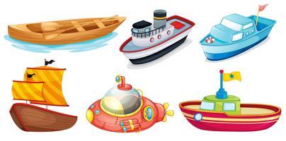 Différents modèles de bateaux vecteur