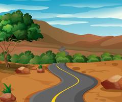 Route courbe à la campagne