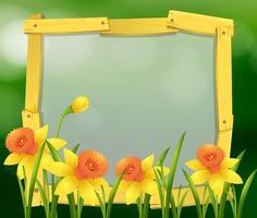 Encadrement à fleurs jaunes vecteur