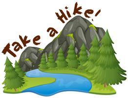 Scène de montagne avec phrase faire une randonnée vecteur