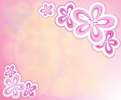 Papeterie rose avec des fleurs vecteur