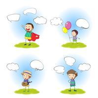 Ensemble de garçon avec bulle de dialogue