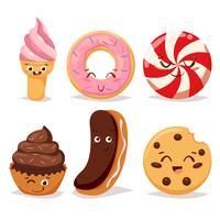 Bonbons dessert bonbons et icône de doodle vecteur