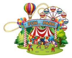 Joyeux clowns dans le funpark