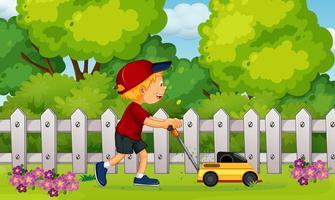 Un garçon coupe l'herbe avec une tondeuse à gazon vecteur