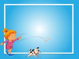 Modèle de frontière avec fille et chien vecteur