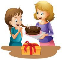 Gâteau surprise joyeux anniversaire vecteur