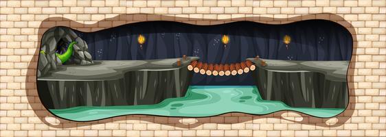 Une caverne de dragon souterraine mystère vecteur