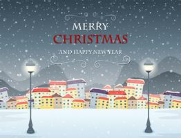 Scène d'hiver sur le thème de joyeux Noël