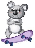 Un koala jouant à la planche à roulettes vecteur