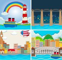 Quatre scènes de ville et de campagne vecteur