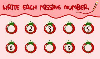 Écrire chaque feuille de calcul du nombre manquant vecteur