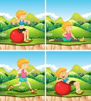 Quatre scènes avec des exercices de femme dans le parc