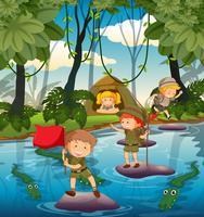 Camping les enfants dans la nature vecteur
