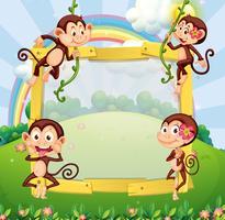 Design de la frontière avec des singes dans le parc