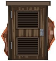 Vieille fenêtre en bois sur brickwall